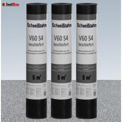 Schweißbahn V60 S4 Glasvlieseinlage beschiefert GRAU 10m² DachPappe Bitumenbahn.