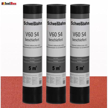 Schweißbahn V60 S4 Glasvlieseinlage beschiefert ROT 5m² DachPappe Bitumenbahn.