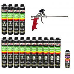 SET Pistolenschaum 14 x 750 ml + 1 Metall Schaumpistole + 1 Reiniger Bauschaum