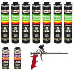 SET Pistolenschaum 7 x 750 ml + 1 Metall Schaumpistole + 2 Reiniger Bauschaum