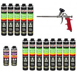 SET Pistolenschaum 13 x 750 ml + 1 Metall Schaumpistole + 2 Reiniger Bauschaum