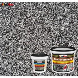 Mosaikputz Buntsteinputz BP 30 (schwarz, grau, weiss) 10 kg Fertigputz Sockelputz + Quarzgrund 1,5 kg