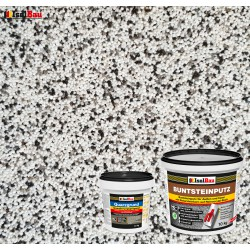 Mosaikputz Buntsteinputz BP 10 (weiss, grau, schwarz) 10 kg Fertigputz Sockelputz + Quarzgrund 1,5 kg