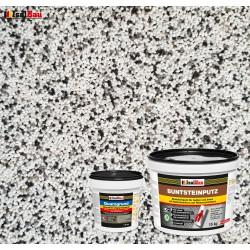 Mosaikputz Buntsteinputz BP 10 (weiss, grau, schwarz) 15 kg Fertigputz Sockelputz + Quarzgrund 1,5 kg