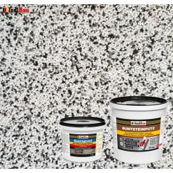 Mosaikputz Buntsteinputz BP 10 (weiss, grau, schwarz) 20 kg Fertigputz Sockelputz + Quarzgrund 4 kg
