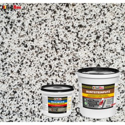 Mosaikputz Buntsteinputz BP 10 (weiss, grau, schwarz) 25 kg Fertigputz Sockelputz + Quarzgrund 4 kg