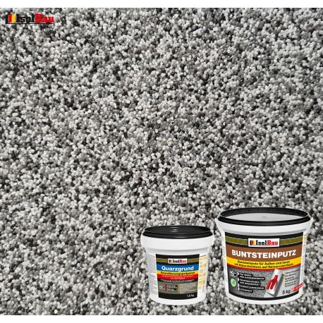 Mosaikputz Buntsteinputz BP 20 (grau, weiss, schwarz) 5 kg Fertigputz Sockelputz + Quarzgrund 1,5 kg