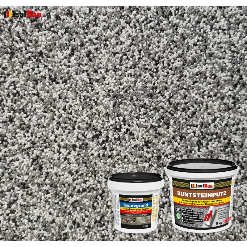 Grundpreis 2,74/€//kg 20kg Hergestellt in Bayern Buntsteinputz Mosaikputz 1-3mm SOP47 Wei/ß Glas Schwarz Wandputz