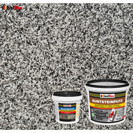 Mosaikputz Buntsteinputz BP 20 (grau, weiss, schwarz) 10 kg Fertigputz Sockelputz + Quarzgrund 1,5 kg