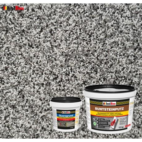 Mosaikputz Buntsteinputz BP 20 (grau, weiss, schwarz) 15 kg Fertigputz Sockelputz + Quarzgrund 1,5 kg