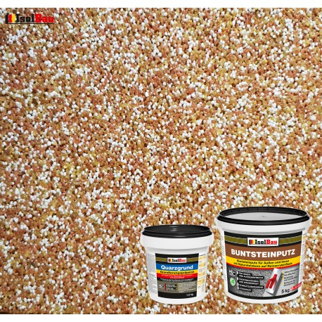 Mosaikputz Buntsteinputz BP 40 (braun, weiss, gelb) 5 kg Fertigputz Sockelputz + Quarzgrund 1,5 kg
