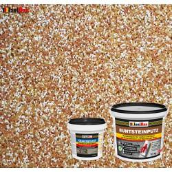 Mosaikputz Buntsteinputz BP 40 (braun, weiss, gelb) 10 kg Fertigputz Sockelputz + Quarzgrund 1,5 kg