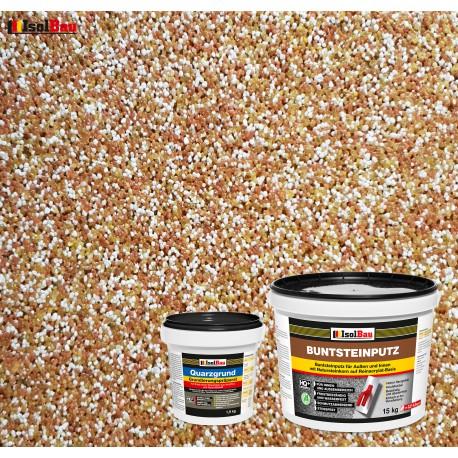 Mosaikputz Buntsteinputz BP 40 (braun, weiss, gelb) 15 kg Fertigputz Sockelputz + Quarzgrund 1,5 kg