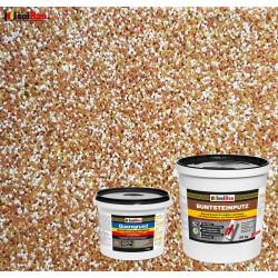 Mosaikputz Buntsteinputz BP 40 (braun, weiss, gelb) 20 kg Fertigputz Sockelputz + Quarzgrund 4 kg