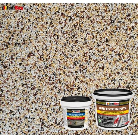 Mosaikputz Buntsteinputz BP 50 (weiss,gelb,braun, schwarz) 5 kg Fertigputz Sockelputz + Quarzgrund 1,5 kg