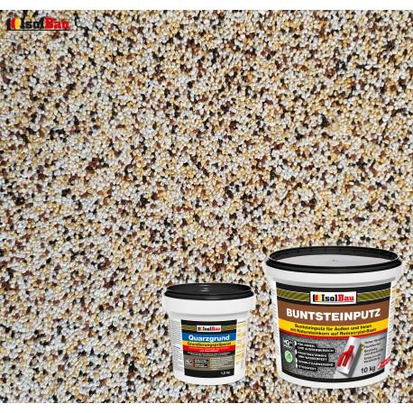 Mosaikputz Buntsteinputz BP 50 (weiss,gelb,braun, schwarz) 10 kg Fertigputz Sockelputz + Quarzgrund 1,5 kg