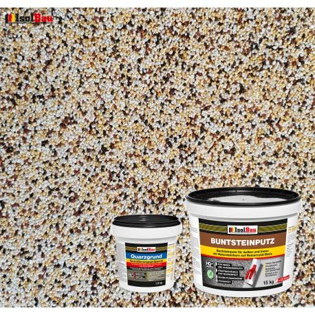 Mosaikputz Buntsteinputz BP 50 (weiss,gelb,braun, schwarz) 15 kg Fertigputz Sockelputz + Quarzgrund 1,5 kg