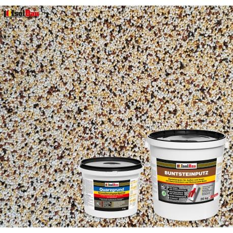 Mosaikputz Buntsteinputz BP 50 (weiss,gelb,braun, schwarz) 20 kg Fertigputz Sockelputz + Quarzgrund 4 kg