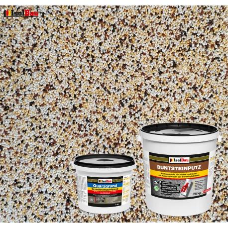 Mosaikputz Buntsteinputz BP 50 (weiss,gelb,braun, schwarz) 25 kg Fertigputz Sockelputz + Quarzgrund 4 kg