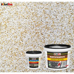 Mosaikputz Buntsteinputz BP 60 (weiss, sand/gelb) 15 kg Fertigputz Sockelputz + Quarzgrund 1,5 kg