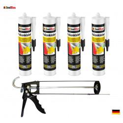 Folienkleber SET Dichtkleber 4 x 450 g + Auspresspistole Dampfbremse Dampfsperre