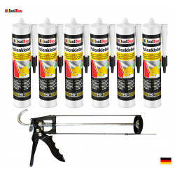 Folienkleber SET Dichtkleber 6 x 450 g + Auspresspistole Dampfbremse Dampfsperre