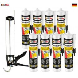 Folienkleber SET Dichtkleber 8 x 450 g + Auspresspistole Dampfbremse Dampfsperre