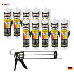 Folienkleber SET Dichtkleber 10 x 450 g + Auspresspistole Dampfbremse Dampfsperre