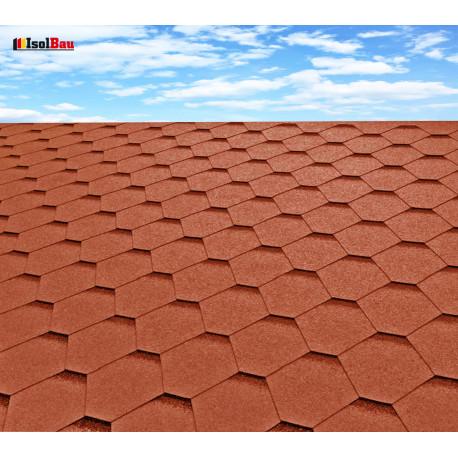Dachschindeln 3m² Hexagonal Ziegelrot (22 Stk) Schindeln Dachpappe Bitumen