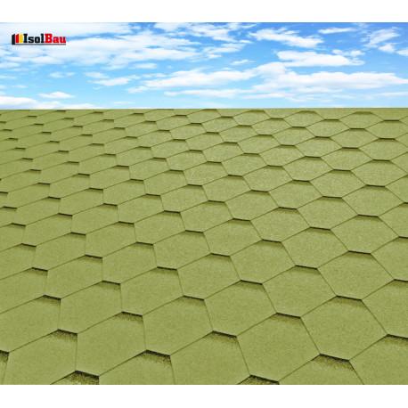 Dachschindeln 3m² Hexagonal Grün (22 Stk) Schindeln Dachpappe Bitumen