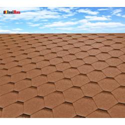 Dachschindeln 9 m² Hexagonal Braun (3 Pakete) Schindeln Dachpappe Biber