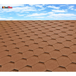 Dachschindeln 12 m² Hexagonal Braun (4 Pakete) Schindeln Dachpappe Biber