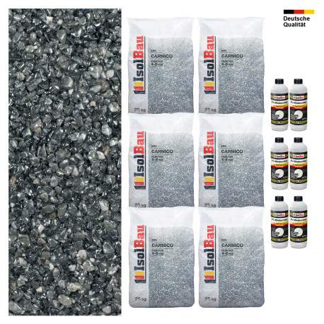 Steinteppich SET Marmorkies 25kg + PU-Bindemittel für 2,5m² Carnico 4/8mm
