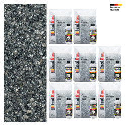Steinteppich SET Marmorkies 200kg + PU-Bindemittel für 200m² Carnico 4/8mm