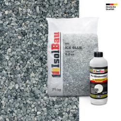 Steinteppich SET Marmorkies 25kg + PU-Bindemittel für 2,5m² Ice blue 4-8mm