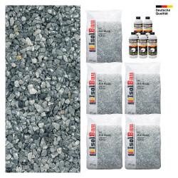 Steinteppich SET Marmorkies 125kg + PU-Bindemittel für 12,5m² Ice blue 4-8mm