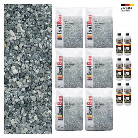 Steinteppich SET Marmorkies 25kg + PU-Bindemittel für 2,5m² Ice blue 1-4mm